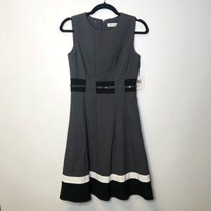 Calvin Klein belted colorblock dress size 2
